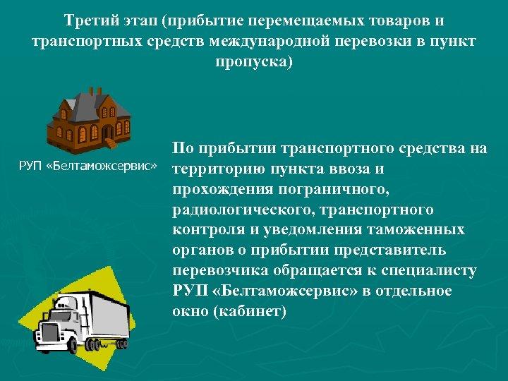 Третий этап (прибытие перемещаемых товаров и транспортных средств международной перевозки в пункт пропуска) РУП