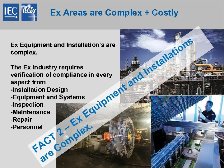 Ex Areas are Complex + Costly INTERNATIONAL ELECTROTECHNICAL COMMISSION Ex Equipment and Installation's are