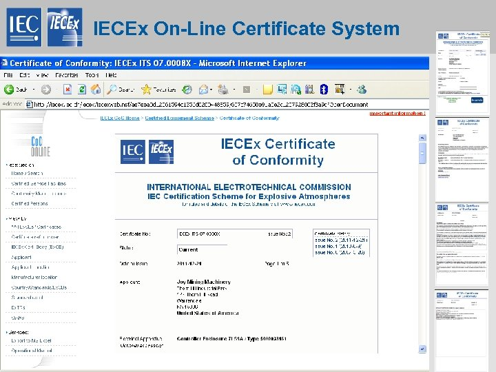 IECEx On-Line Certificate System 23