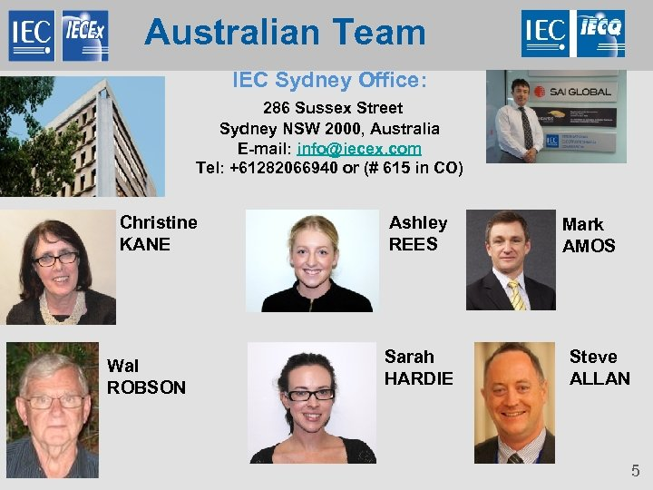 Australian Team IEC Sydney Office: 286 Sussex Street Sydney NSW 2000, Australia E-mail: info@iecex.