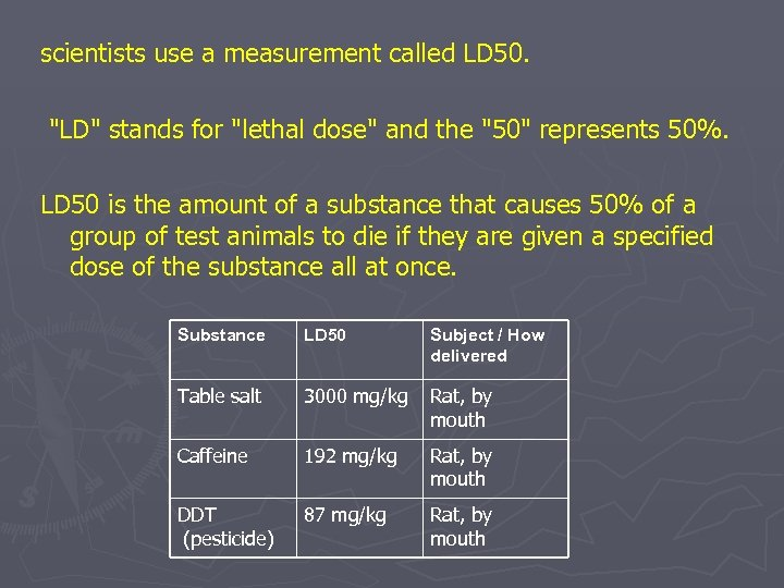 scientists use a measurement called LD 50.