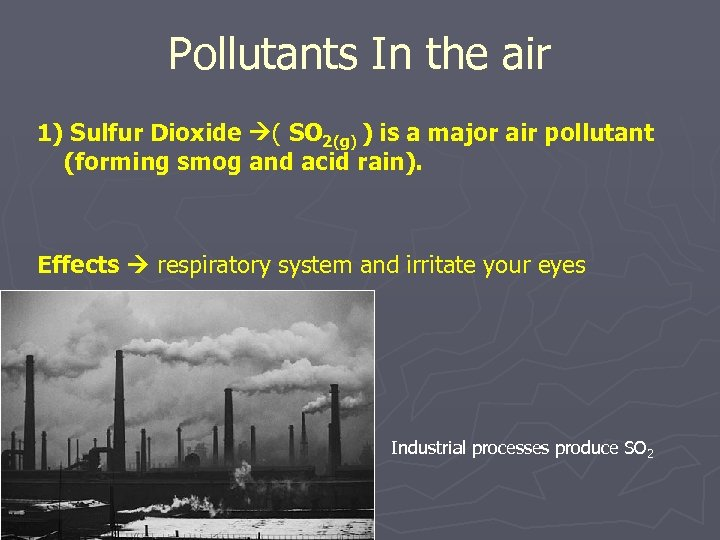 Pollutants In the air 1) Sulfur Dioxide ( SO 2(g) ) is a major