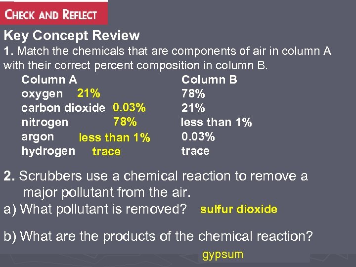 Key Concept Review 1. Match the chemicals that are components of air in column