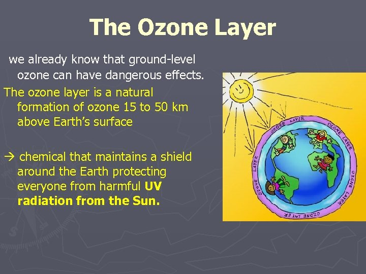 The Ozone Layer we already know that ground-level ozone can have dangerous effects. The