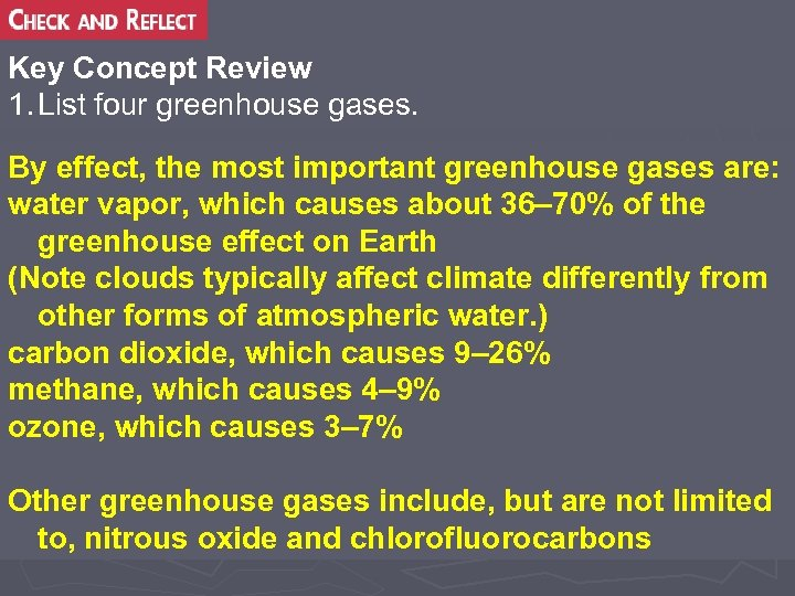 Key Concept Review 1. List four greenhouse gases. By effect, the most important greenhouse