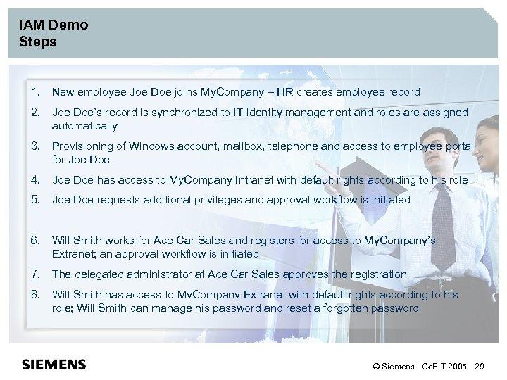 IAM Demo Steps 1. New employee Joe Doe joins My. Company – HR creates