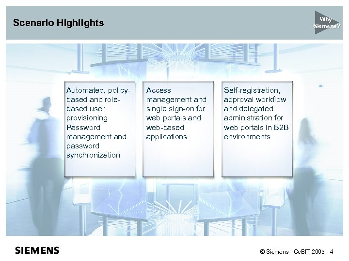Why Siemens? Scenario Highlights Automated, policybased and rolebased user provisioning Password management and password