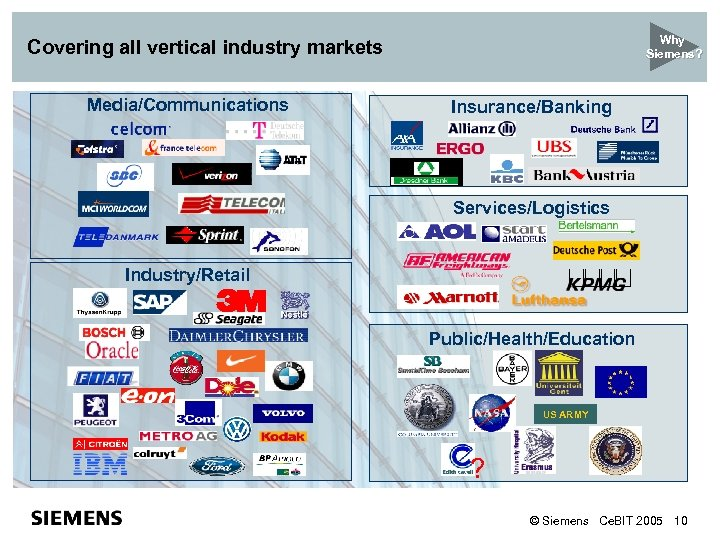 Why Siemens? Covering all vertical industry markets Media/Communications Insurance/Banking Services/Logistics Industry/Retail Public/Health/Education US ARMY