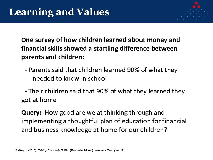 Learning and Values One survey of how children learned about money and financial skills