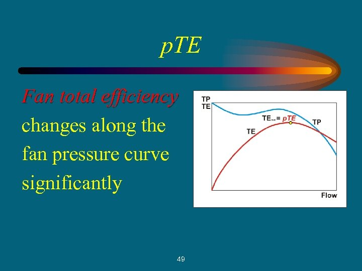 p. TE Fan total efficiency changes along the fan pressure curve significantly 49