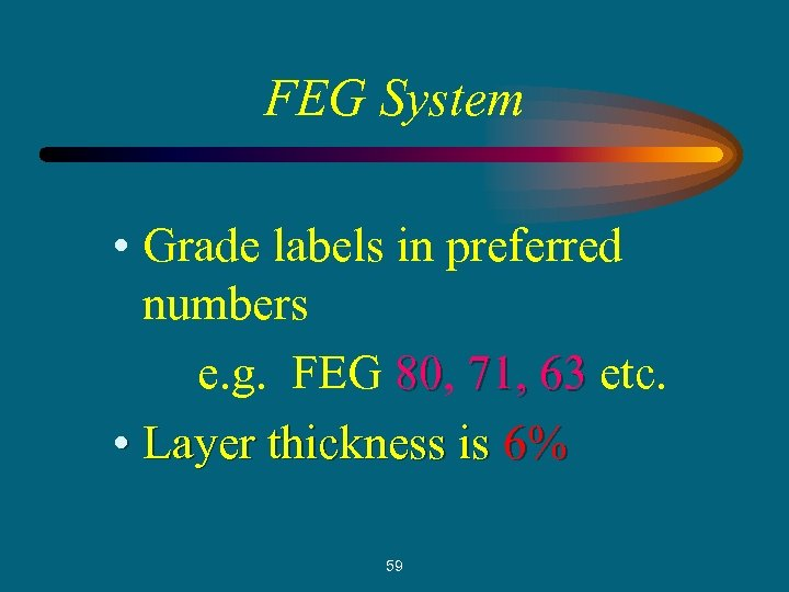 FEG System • Grade labels in preferred numbers e. g. FEG 80, 71, 63