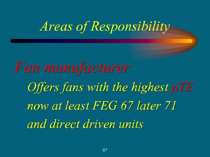 Areas of Responsibility Fan manufacturer Offers fans with the highest p. TE now at