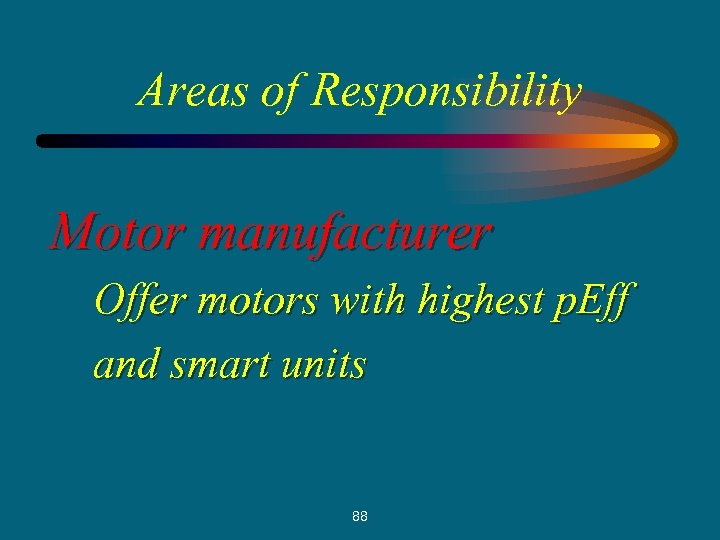 Areas of Responsibility Motor manufacturer Offer motors with highest p. Eff and smart units