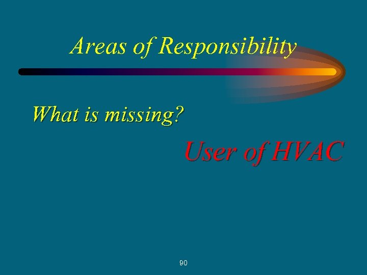 Areas of Responsibility What is missing? User of HVAC 90