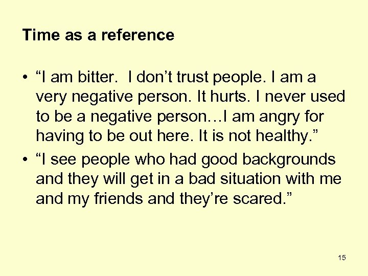 """Time as a reference • """"I am bitter. I don't trust people. I am"""