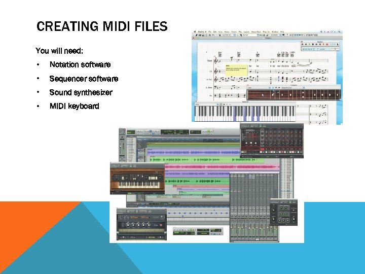 CREATING MIDI FILES You will need: • Notation software • Sequencer software • Sound