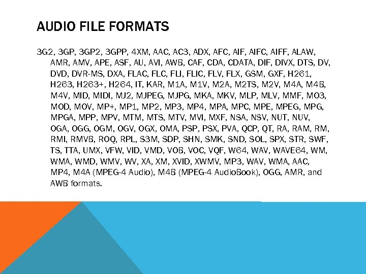 AUDIO FILE FORMATS 3 G 2, 3 GPP, 4 XM, AAC, AC 3, ADX,