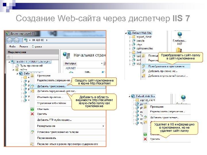 Создание Web-сайта через диспетчер IIS 7 Преобразовать сайт-папку в сайт-приложение Создать сайт-приложение в корне
