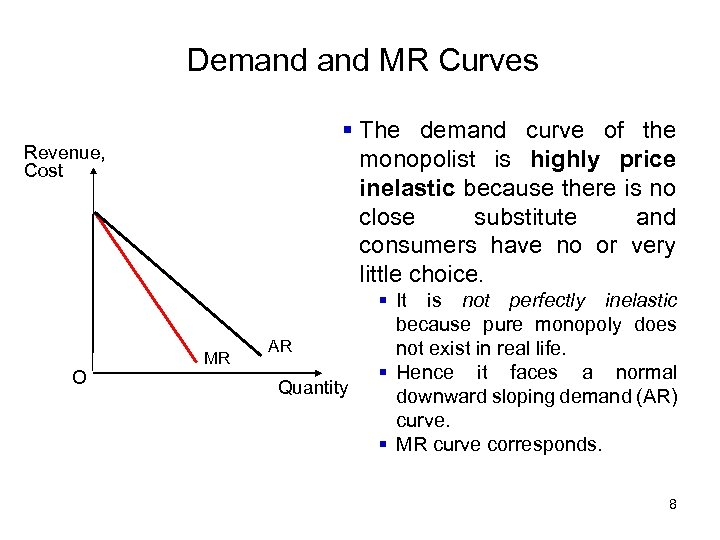 Demand MR Curves § The demand curve of the monopolist is highly price inelastic