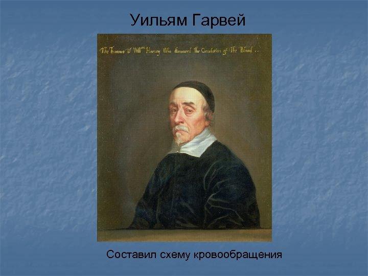 Уильям Гарвей Составил схему кровообращения
