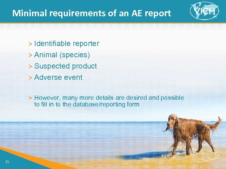 Minimal requirements of an AE report > Identifiable reporter > Animal (species) > Suspected