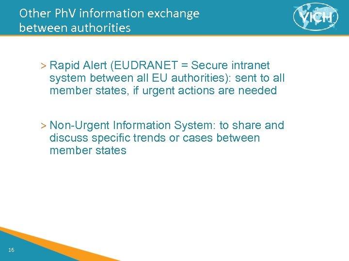 Other Ph. V information exchange between authorities > Rapid Alert (EUDRANET = Secure intranet