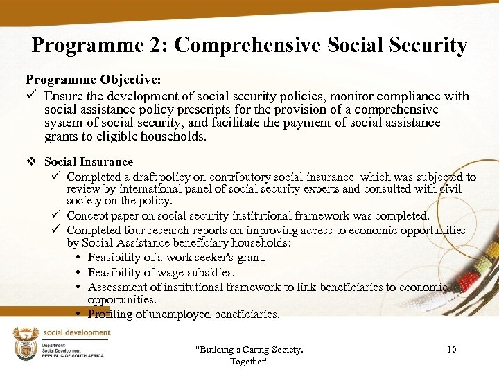 Programme 2: Comprehensive Social Security Programme Objective: ü Ensure the development of social security