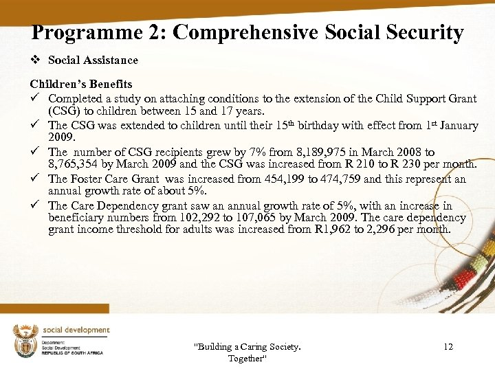 Programme 2: Comprehensive Social Security v Social Assistance Children's Benefits ü Completed a study