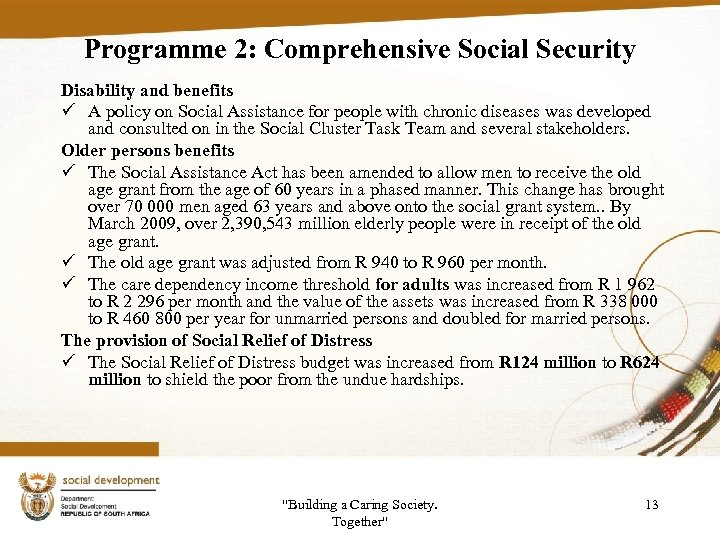 Programme 2: Comprehensive Social Security Disability and benefits ü A policy on Social Assistance