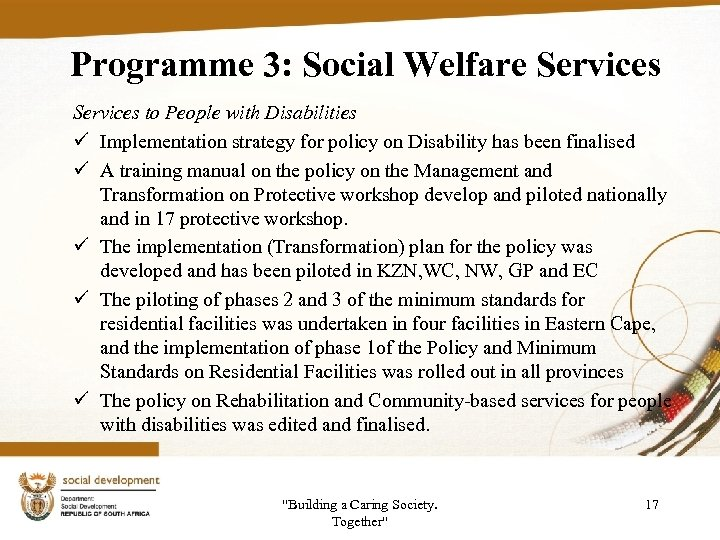 Programme 3: Social Welfare Services to People with Disabilities ü Implementation strategy for policy