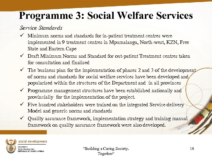 Programme 3: Social Welfare Services Service Standards ü Minimum norms and standards for in-patient