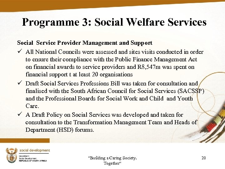 Programme 3: Social Welfare Services Social Service Provider Management and Support ü All National