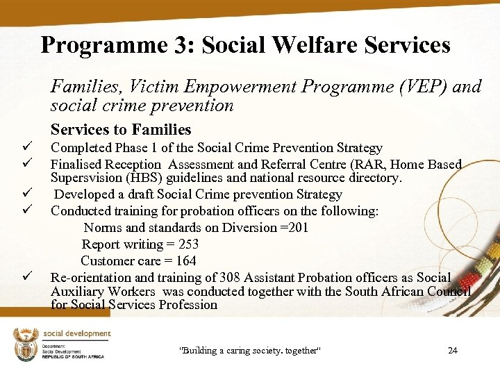 Programme 3: Social Welfare Services Families, Victim Empowerment Programme (VEP) and social crime prevention