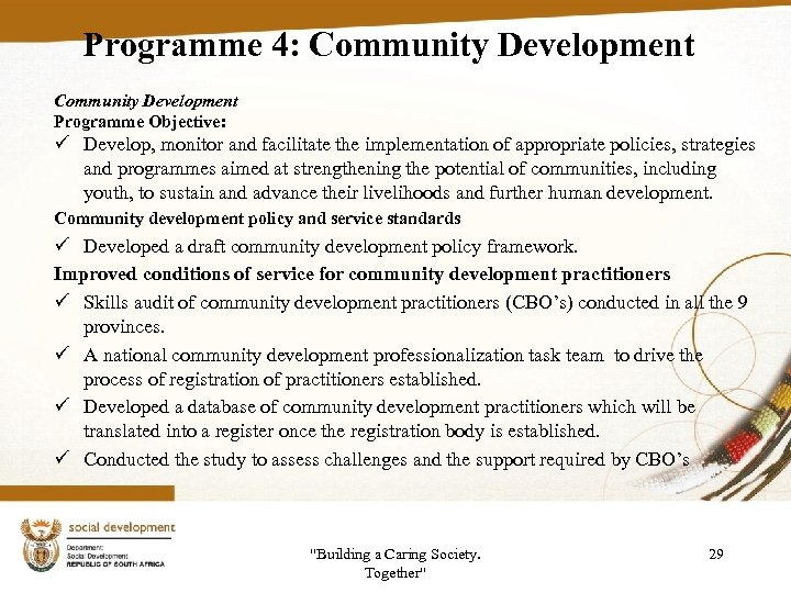 Programme 4: Community Development Programme Objective: ü Develop, monitor and facilitate the implementation of
