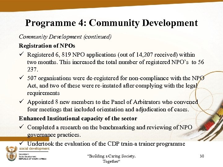 Programme 4: Community Development (continued) Registration of NPOs ü Registered 6, 819 NPO applications