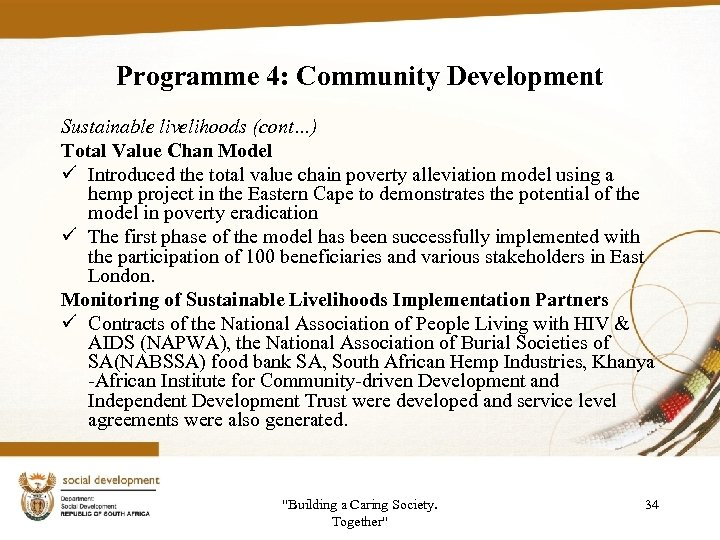 Programme 4: Community Development Sustainable livelihoods (cont…) Total Value Chan Model ü Introduced the