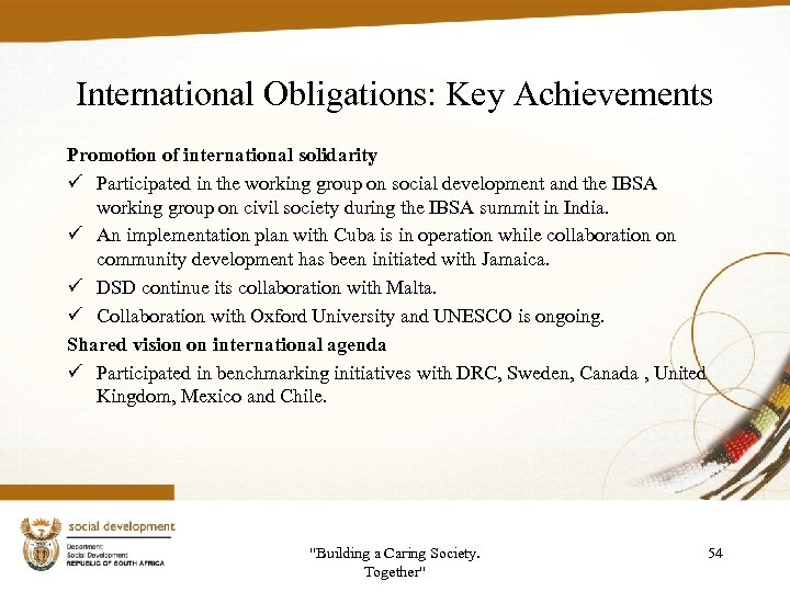 International Obligations: Key Achievements Promotion of international solidarity ü Participated in the working group