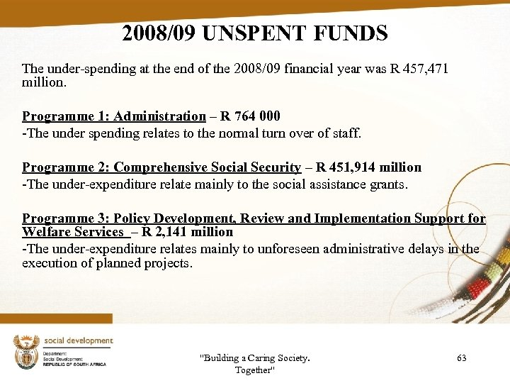 2008/09 UNSPENT FUNDS The under-spending at the end of the 2008/09 financial year was