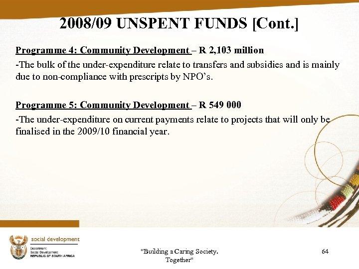 2008/09 UNSPENT FUNDS [Cont. ] Programme 4: Community Development – R 2, 103 million