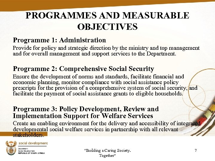 PROGRAMMES AND MEASURABLE OBJECTIVES Programme 1: Administration Provide for policy and strategic direction by
