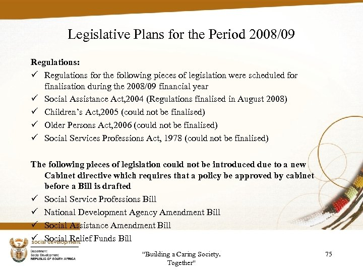 Legislative Plans for the Period 2008/09 Regulations: ü Regulations for the following pieces of