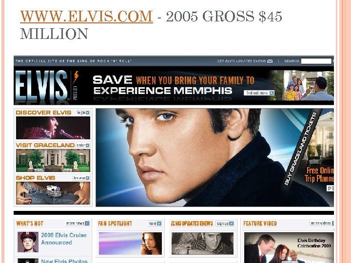 WWW. ELVIS. COM - 2005 GROSS $45 MILLION
