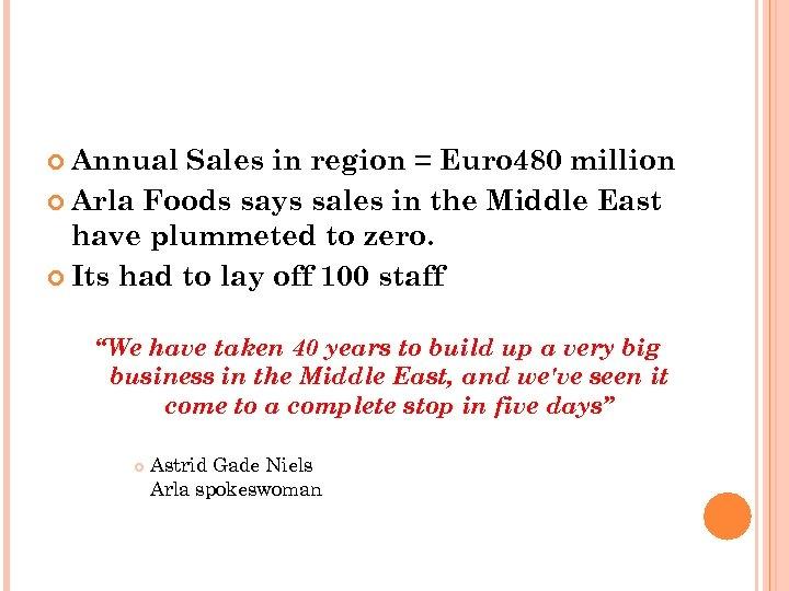 Annual Sales in region = Euro 480 million Arla Foods says sales in