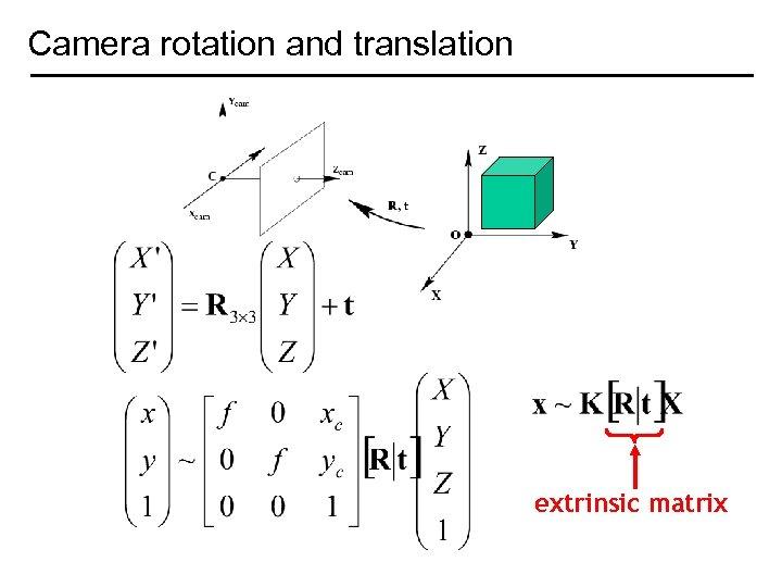 Camera rotation and translation extrinsic matrix