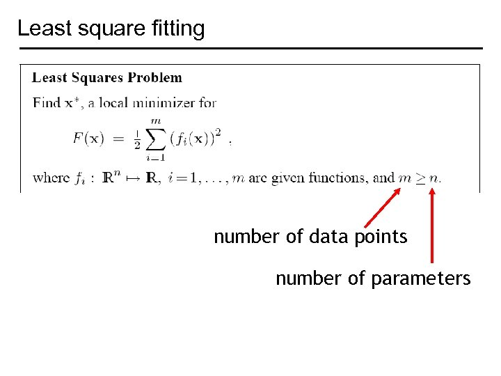 Least square fitting number of data points number of parameters