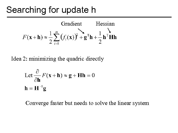 Searching for update h Gradient Hessian Idea 2: minimizing the quadric directly Converge faster