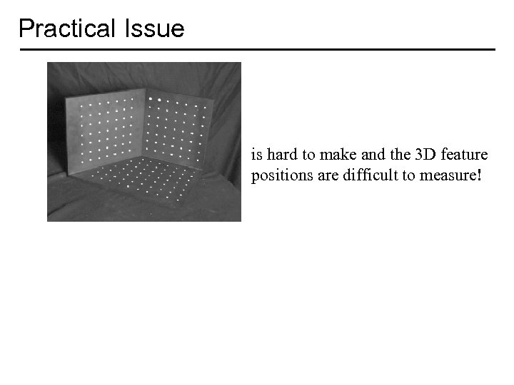Practical Issue is hard to make and the 3 D feature positions are difficult