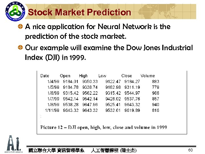 Stock Market Prediction A nice application for Neural Network is the prediction of the