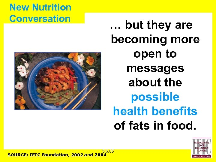 New Nutrition Conversation … but they are becoming more open to messages about the