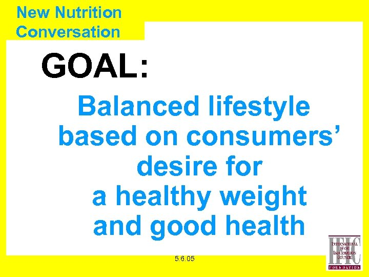 New Nutrition Conversation GOAL: Balanced lifestyle based on consumers' desire for a healthy weight